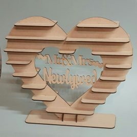 Raw MDF chocolate heart stand