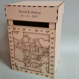 Lockable raw MDF wedd box