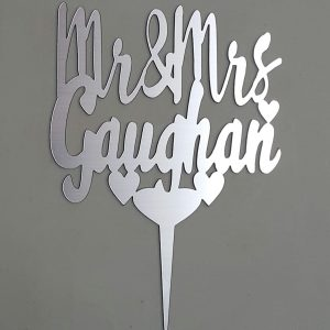 Surname Personalised Cake Topper Silver