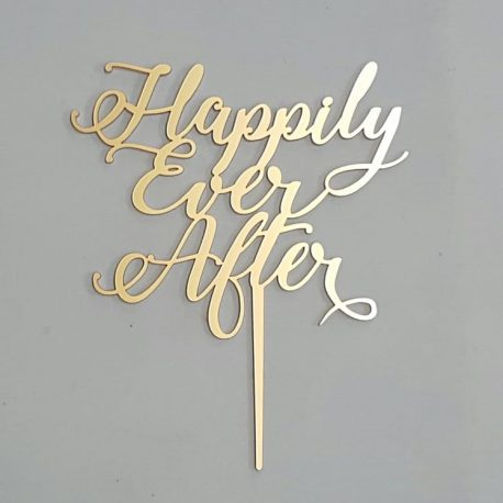 Happily Ever After gold cake topper