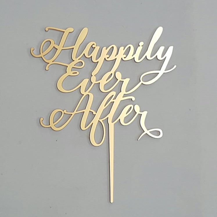 Happily Ever After Gold Acrylic Cake Topper Dezign Worx