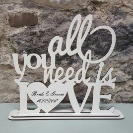 All You Need is Love white MDF stand