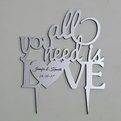 All You Need is Love in silver acrylic