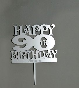Cake topper - Happy 90th Birthday